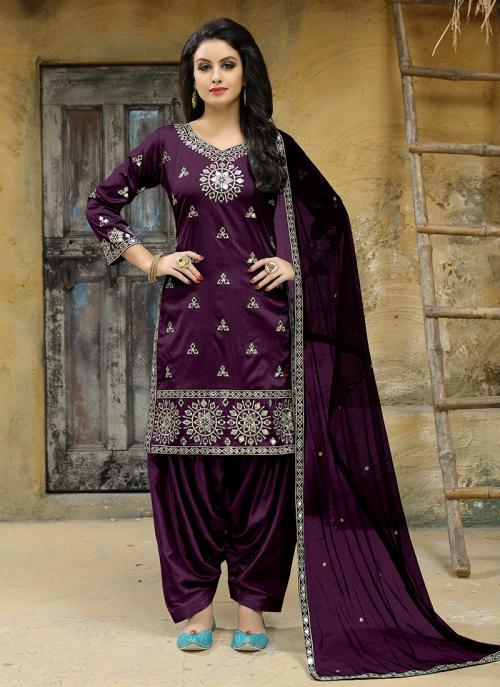 Party Wear Magenta Tapeta Silk Embroidery Work Salwar Suit