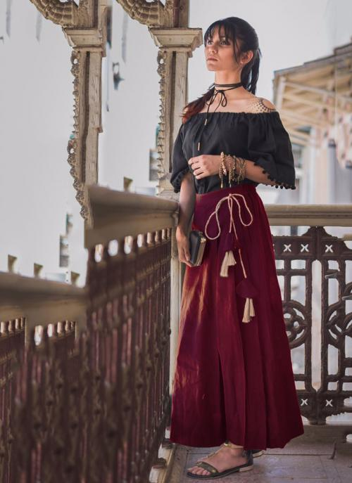 Party Wear Maroon Khadi Patch Work Western Top