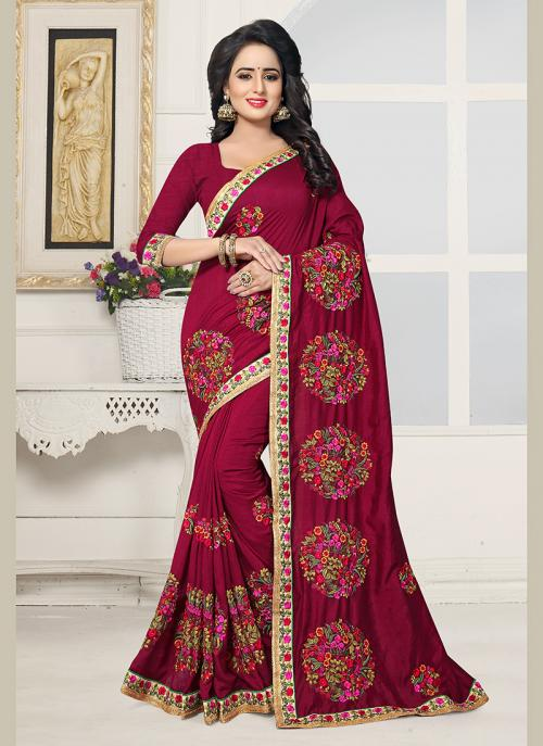 Party Wear Maroon Silk Embroidery Work Saree