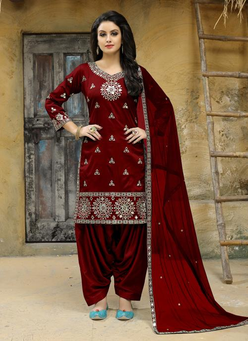 Party Wear Maroon Tapeta Silk Embroidery Work Salwar Suit