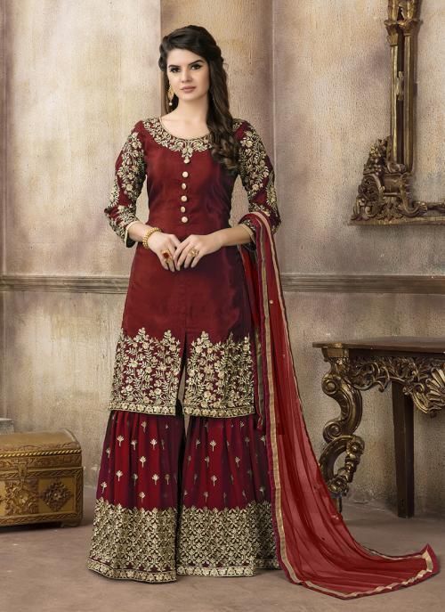 Party Wear Maroon Upada Silk Heavy Embroidery Work Sharar Suit