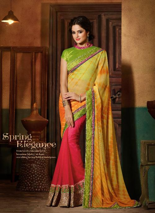 Party Wear Multi Color Georgette Hand Work Saree