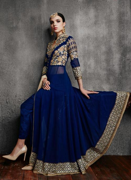 Party Wear Navy Blue Faux Georgette Embroidery Work Anarkali Suit
