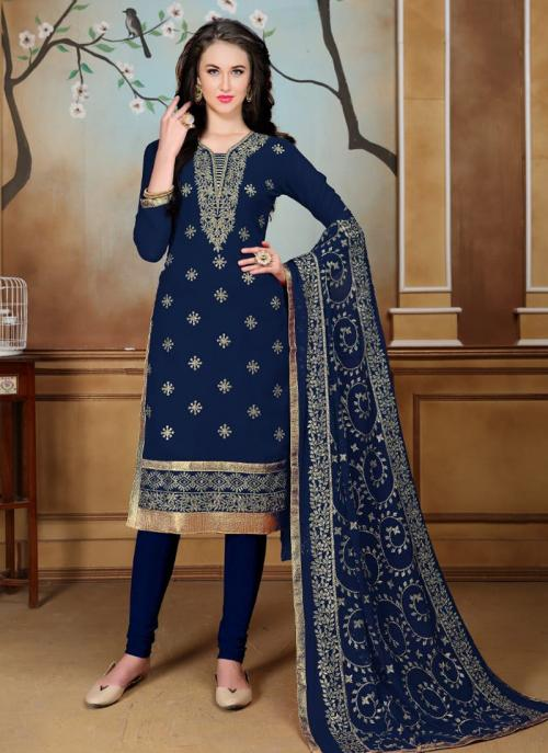 Party Wear Navy Blue Faux Georgette Heavy Embroidery Work Churidar Style