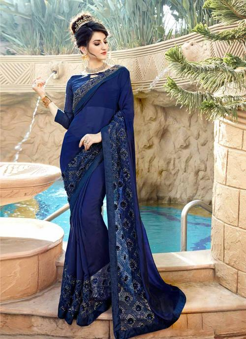 Party Wear Navy Blue Georgette Embroidery Work Saree
