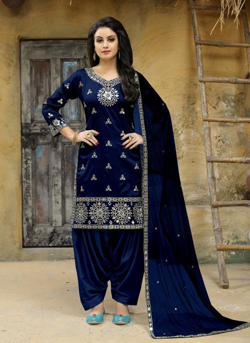 Party Wear Navy Blue Tapeta Silk Embroidery Work Salwar Suit