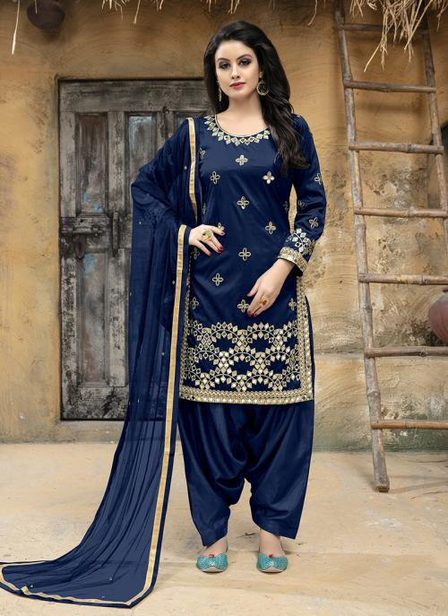 Party Wear Navy Blue Tapeta Silk Gota Patti Work Patiala Style
