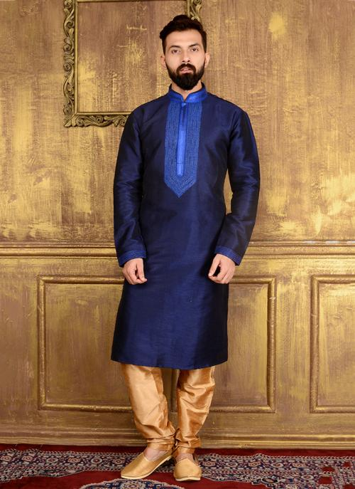 Party Wear Neavy Blue Banarasi Silk Embroidery Work Kurta Pajama