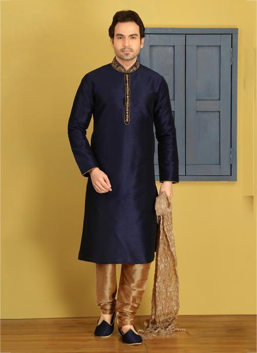 Party Wear Neavy Blue Banarasi Silk Embroidery Work Sherwani Style