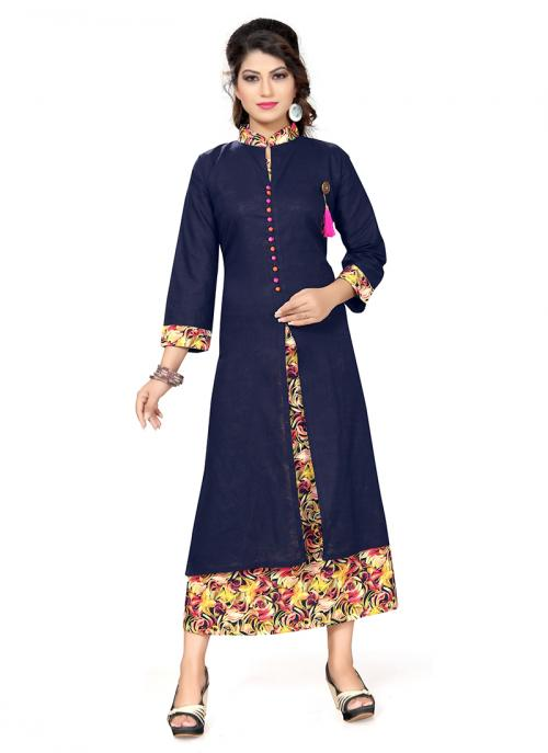 Party Wear Neavy Blue Cotton Printed Work Kurti