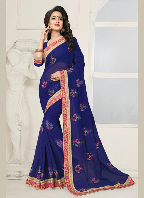 Party Wear Neavy Blue Georgette Embroidery Work Saree