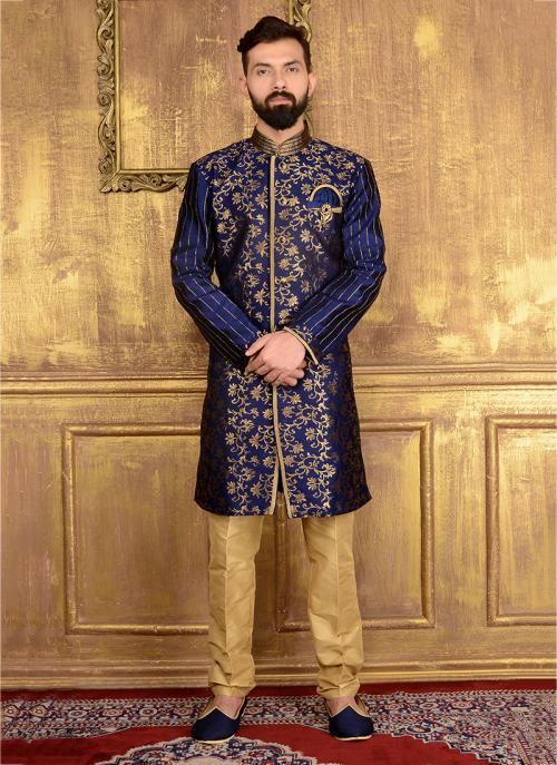 Party Wear Neavy Blue Jacqaurd Embroidery Work Kurta Pajama