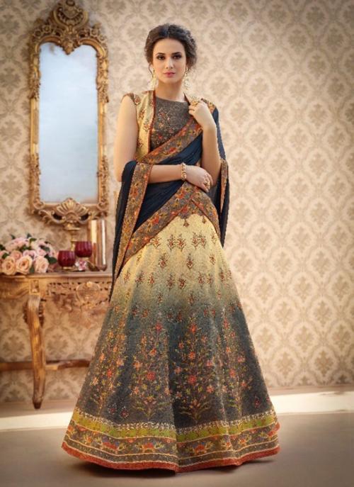 Party Wear Neavy Blue Silk Digital Print Lehenga Choli