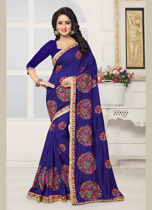 Party Wear Neavy Blue Silk Embroidery Work Saree
