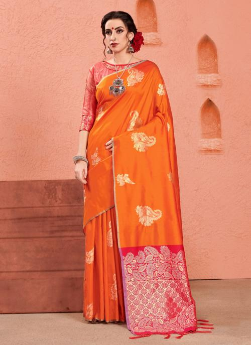 Party Wear Orange Art Silk Zari Work Saree