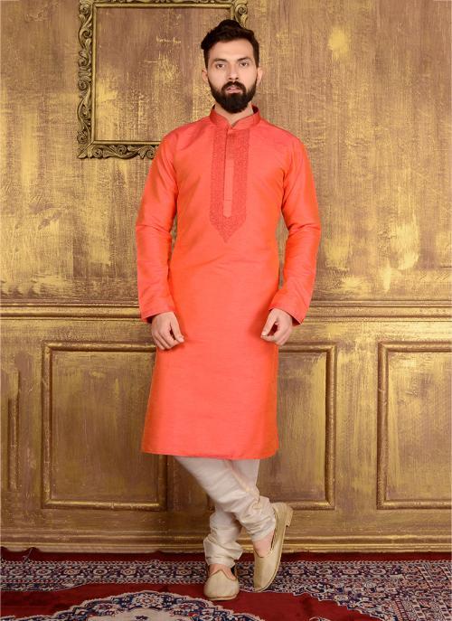 Party Wear Orange Banarasi Silk Embroidery Work Kurta Pajama