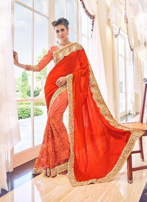 Party Wear Orange Fancy Georgette Embroidery Work Saree