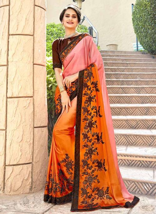 Party Wear Orange Georgette Embroidery Work Saree