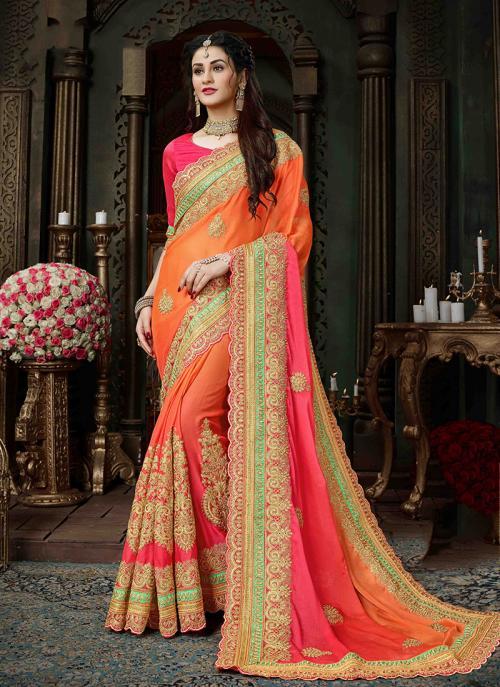 Party Wear Orange Georgette Silk Zari Embroidery Work Saree