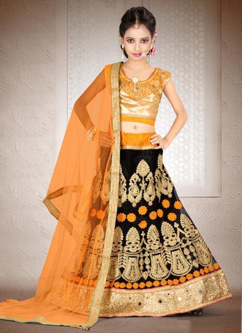 Party Wear Orange Net Hand Work Lehenga Choli