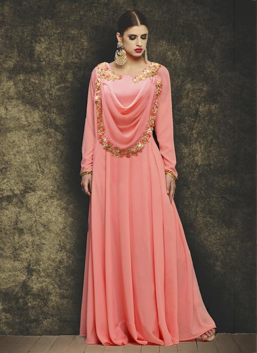 Party Wear Peach Georgette Embroidery Work Gown