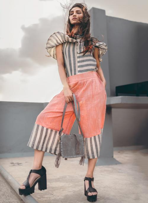 Party Wear Peach Khadi Silk Printed Work Top