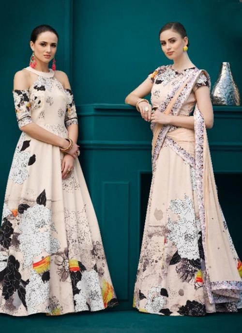 Party Wear Peach Silk Digital Print Lehenga Choli