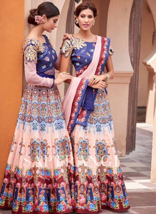 Party Wear Peach Silk Embroidered Work Lehenga Choli