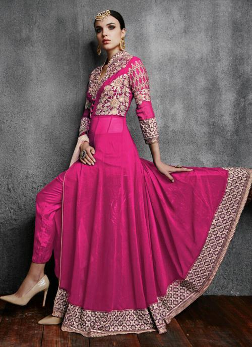 Party Wear Pink Faux Georgette Embroidery Work Anarkali Suit
