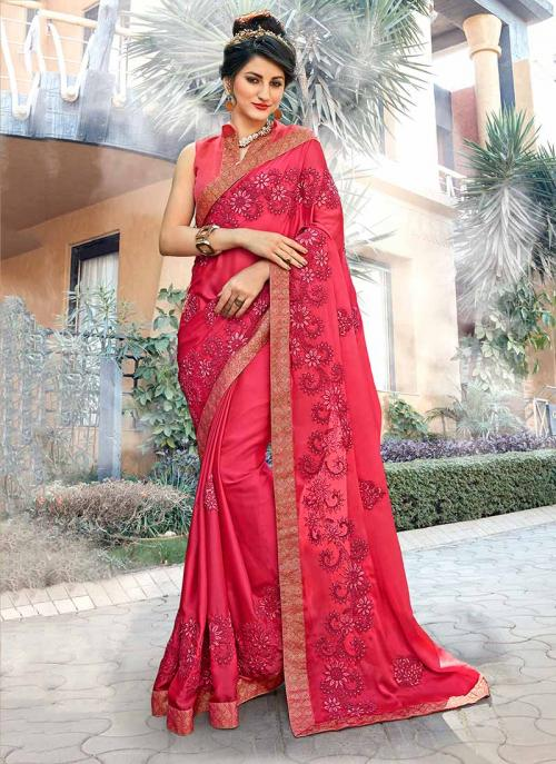 Party Wear Pink Georgette Embroidery Work Saree