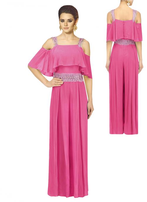 Party Wear Pink Georgette Pearls Work Jumpsuit