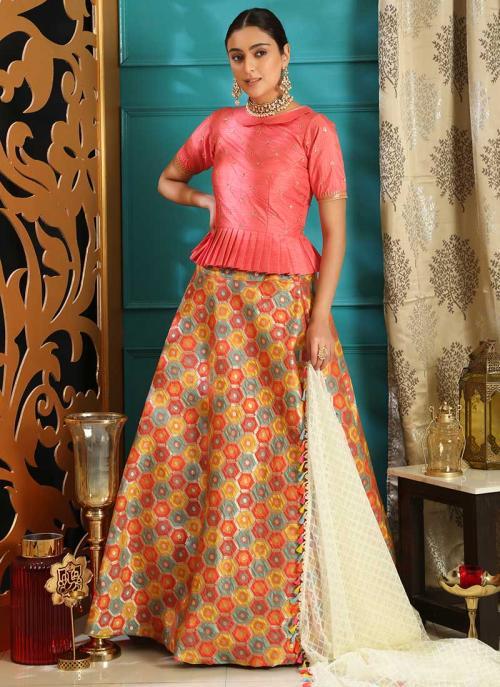 Party Wear Pink Jacquard Silk Sequins Work Lehenga Choli