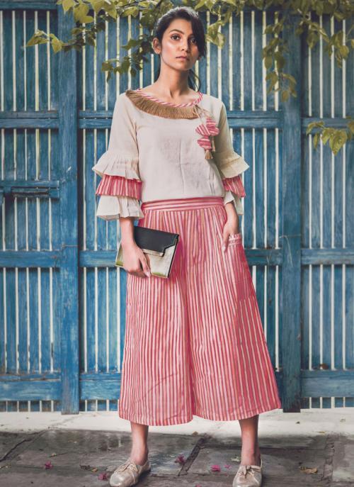 Party Wear Pink Khadi Silk Printed Work Top