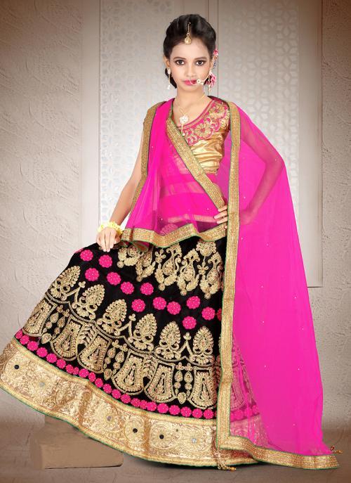 Party Wear Pink Net Hand Work Lehenga Choli