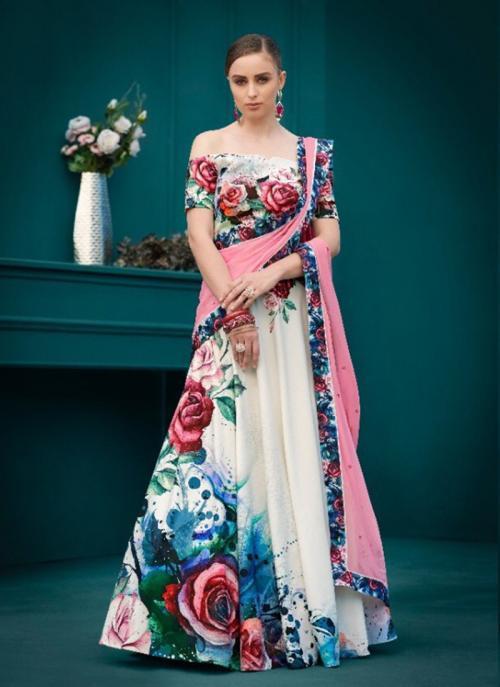 Party Wear Pink Silk Digital Print Lehenga Choli