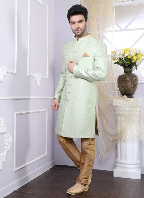Party Wear Pista Green Chanderi Fancy Work Kurta Pajama