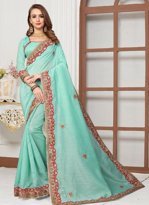 Party Wear Pista Green Cotton Silk Gota Work Saree