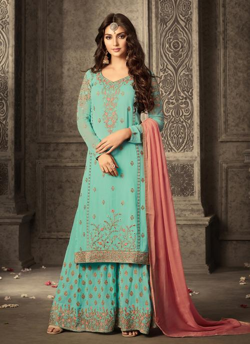 Party Wear Pista Green Georgette Embroidery Work Plaza Salwar Suit