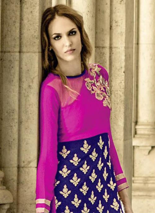 Party Wear Purple Georgette Embroidered Work Straight Suit