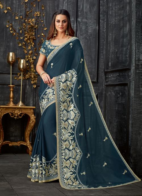Party Wear Rama Blue Tissue Foil Printed Work Saree