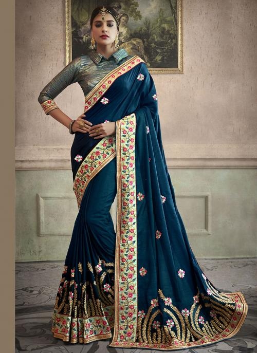 Party Wear Rama Georgette Border Work Saree