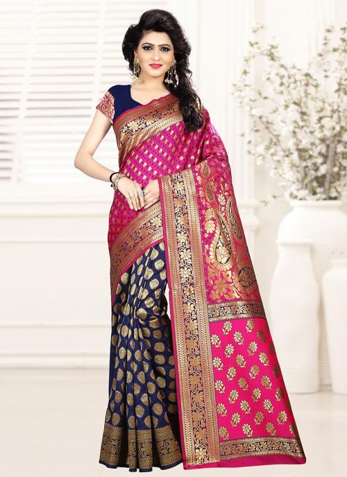 Party Wear Rani Art Silk Zari Work Saree