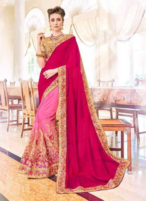 Party Wear Rani Fancy Georgette Embroidery Work Saree
