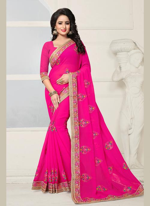 Party Wear Rani Georgette Embroidery Work Saree