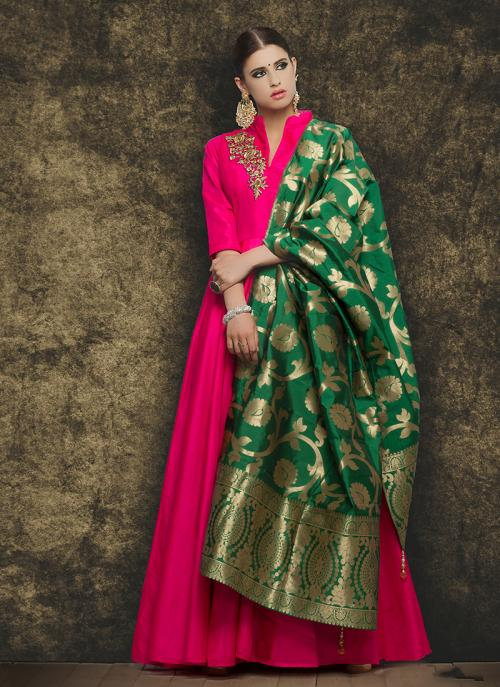 Party Wear Rani Mastani Silk Patch Work Anarkali Suit