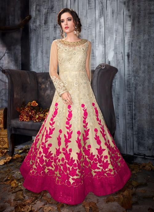 Party Wear Rani Net Embroidery Work Anarkali Style