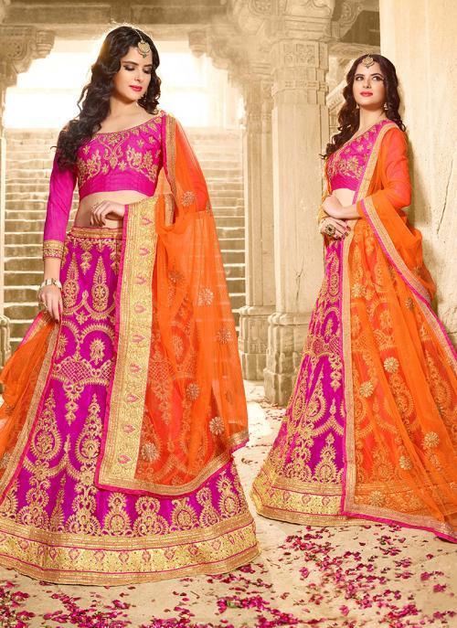 Party Wear Rani Net Zari Embroidery Work Lehenga Choli