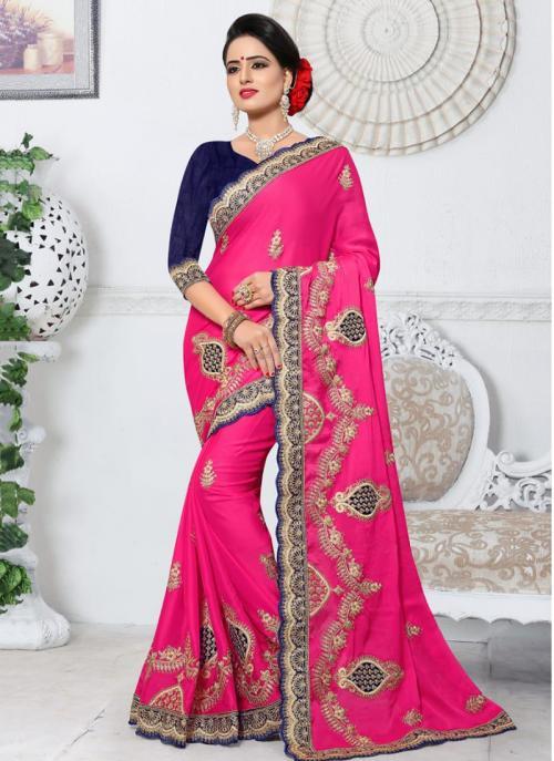 Party Wear Rani Rangoli Embroidery Work Saree