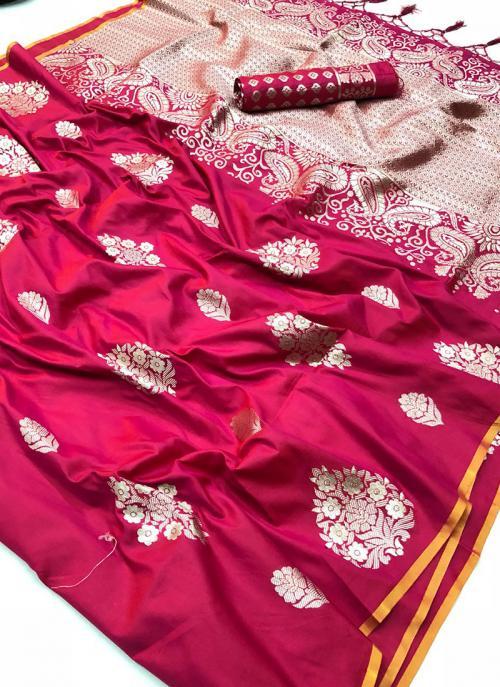 Party Wear Rani Silk Zari Embroidery  Work Saree