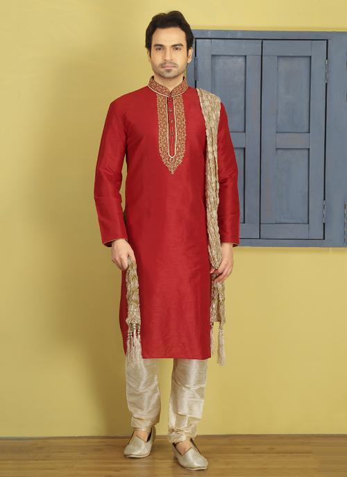 Party Wear Art Silk Red Embroidery Work Sherwani Style